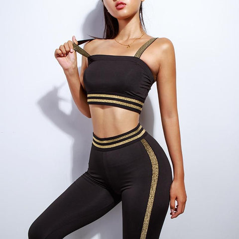 Sport Suit - Black And Golden Sportswear Yoga Set
