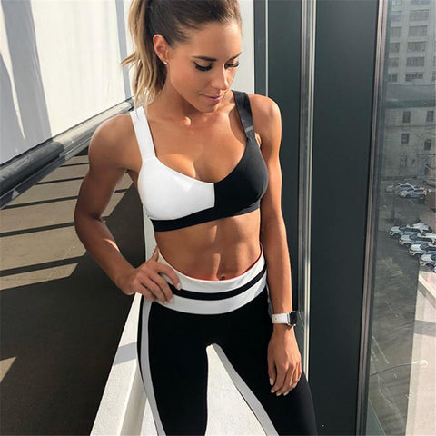 Sport Suit - Black And White Fitness Suit Top + Leggings