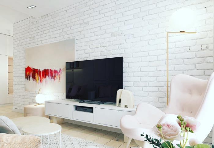 White Brick Tile Feature Wall
