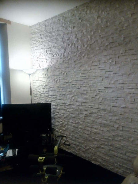 Cream Stone Split Face Tiles Full Feature Wall