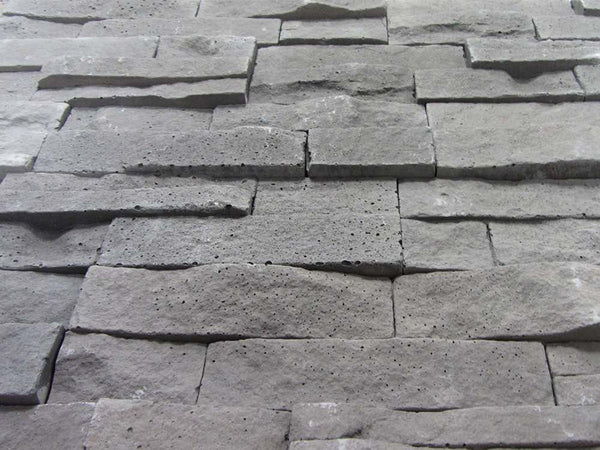 Grey Stone Split Face Tiles Angled View
