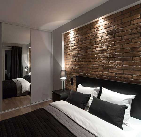 Old Brown Brick Slips Used On A Bedroom Wall