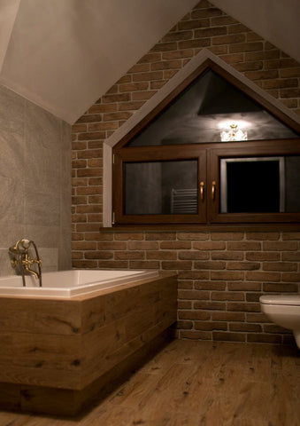 Old Beige Brick Slips used in a bathroom