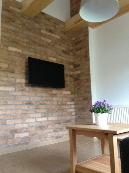 Old Beige Brick Slips Used As A Feature Wall