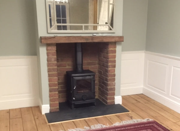 Old Gothic Brick Slips Used In A Working Fireplace