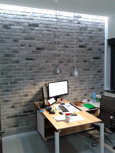 Old Grey Brick Slips Used As An Office Feature Wall