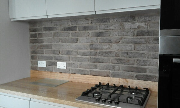 Old Grey Brick Slips Used As A Kitchen Backsplash