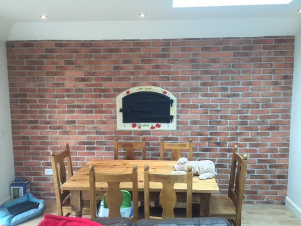 Old Natural Brick Slips Dining Room Feature Wall