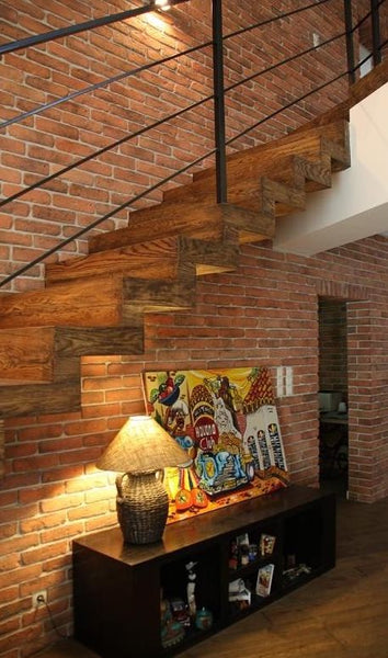 Old Natural Brick Slips Used On A Large Staircase Wall
