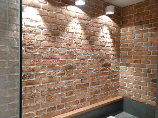 Old Natural Light Brick Slips Used As A Feature Wall