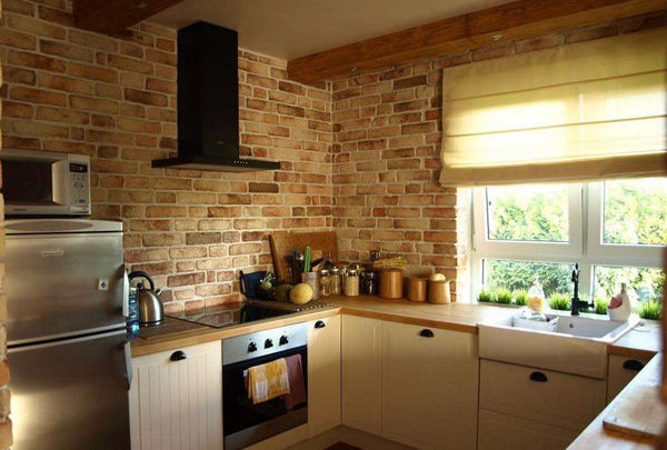 Old Rock Brick Slip Kitchen Feature Wall