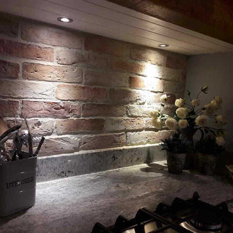 Rock Brick Slips Installed And Finished With Grout