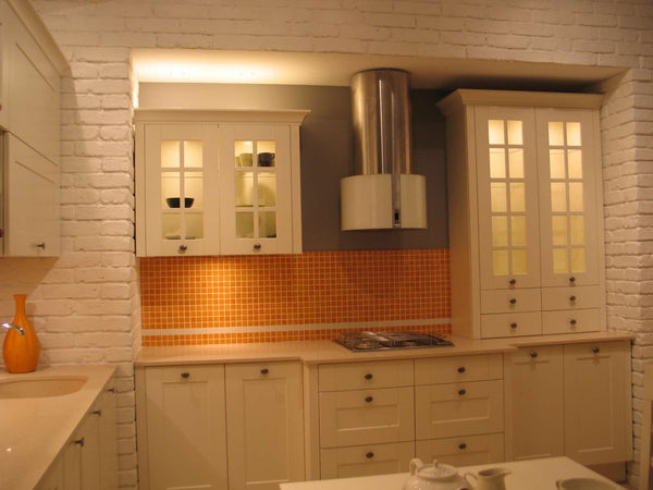 Old White Brick Slips Used In A Kitchen