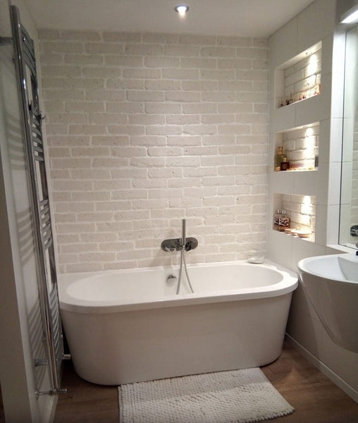 Old White Brick Slips Used As A Bathroom Feature Wall