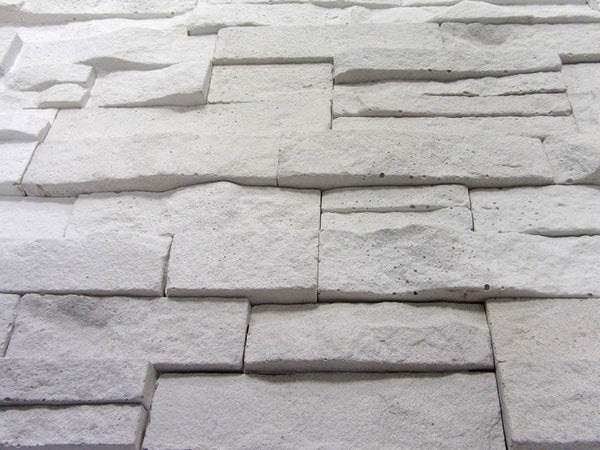 White Stone Split Face Tiles Angled View