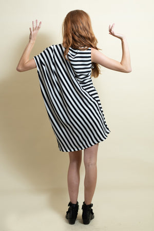 The Asymmetrical Dress - Black and White Stripes