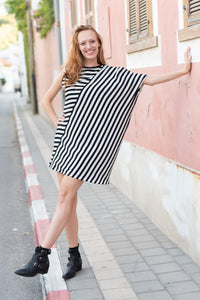 The Asymmetrical Dress - Black and White Stripes - Onesize