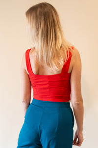Cute Crop Tops with Fabric Belt - Red
