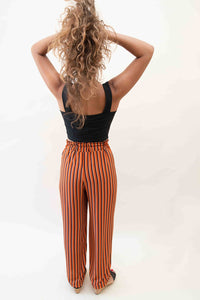 My Cosy Pants - Elastic waistband and fabric belt - Brown with Stripes