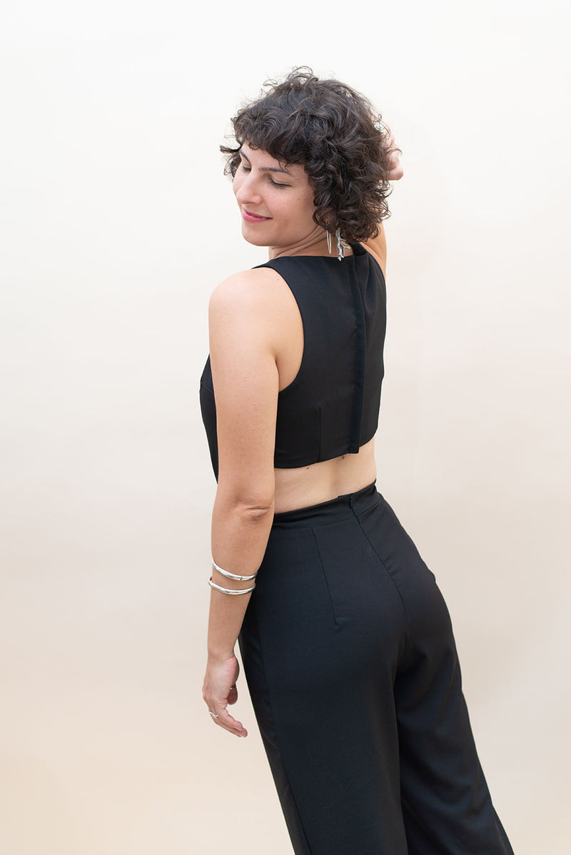 Open Back Jumpsuit - Black