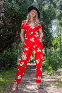 Red Floral Jumpsuit