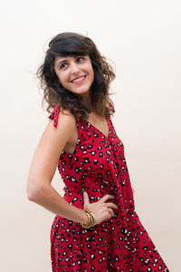 The Bali Jumpsuit - Red with Panter Motives