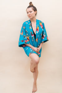 The Classic Kimono - Light Blue with Florals