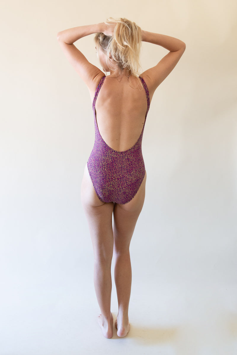 The Classic Swimsuit - Purple Patterns
