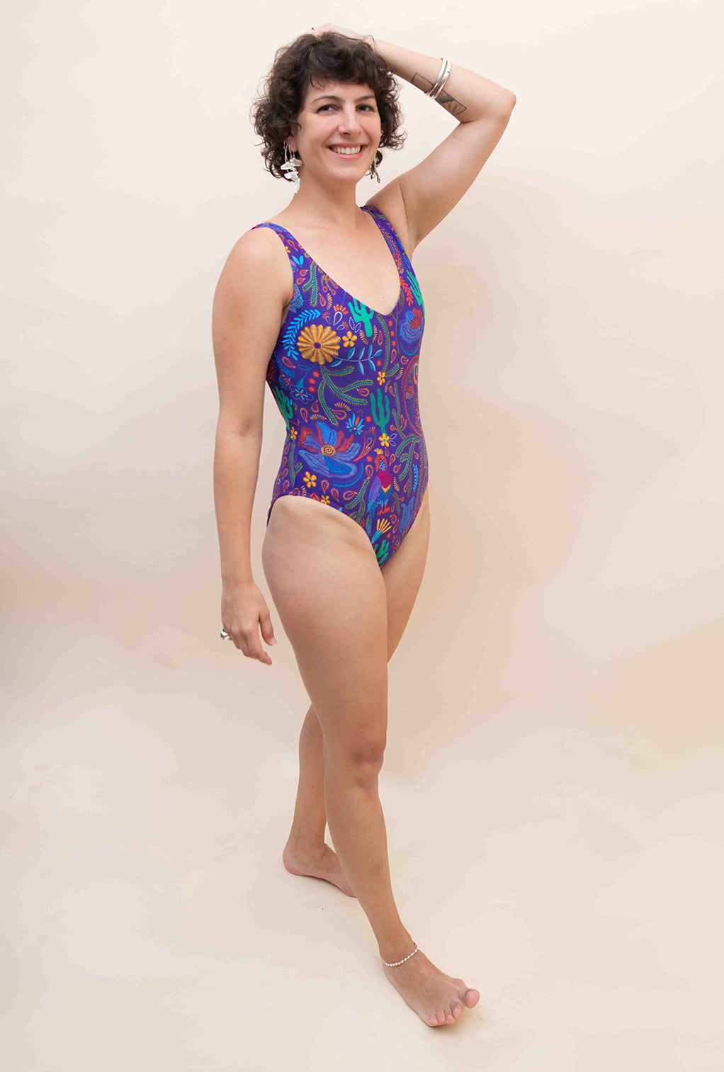 The Classic Swimsuit - Purple with Mexican Symbols