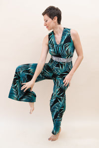 The Classic Wide-Leg Jumpsuit - Exotic Jungle Palm Tree