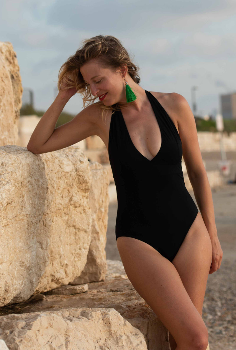 The Deep V-Neck Swimsuit - Black