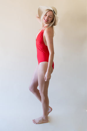 The Deep V-Neck Swimsuit - Red