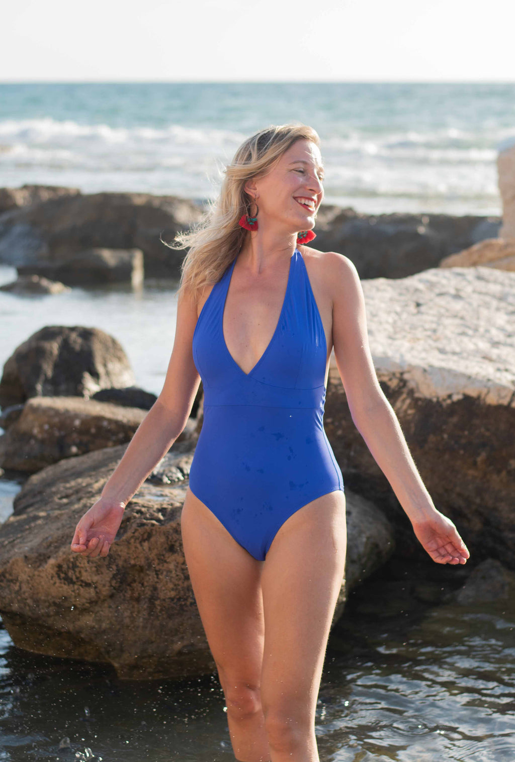 The Deep V-Neck Swimsuit - Royal Blue