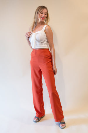 The High Waist Pants - In Orange