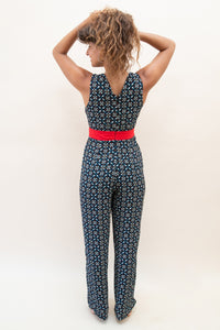The Jumpsuit with Front Cut-Outs - Blue and Red