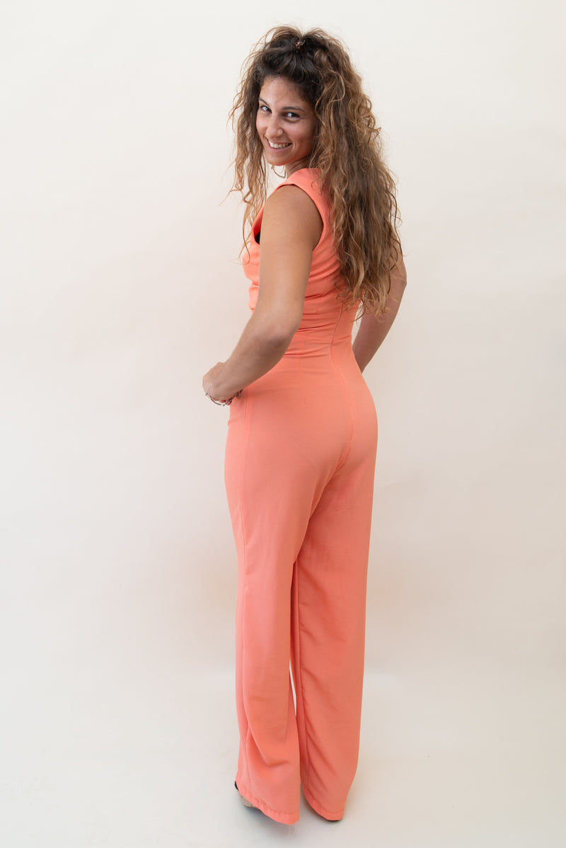 The Jumpsuit with Front Cut-Outs - Salmon