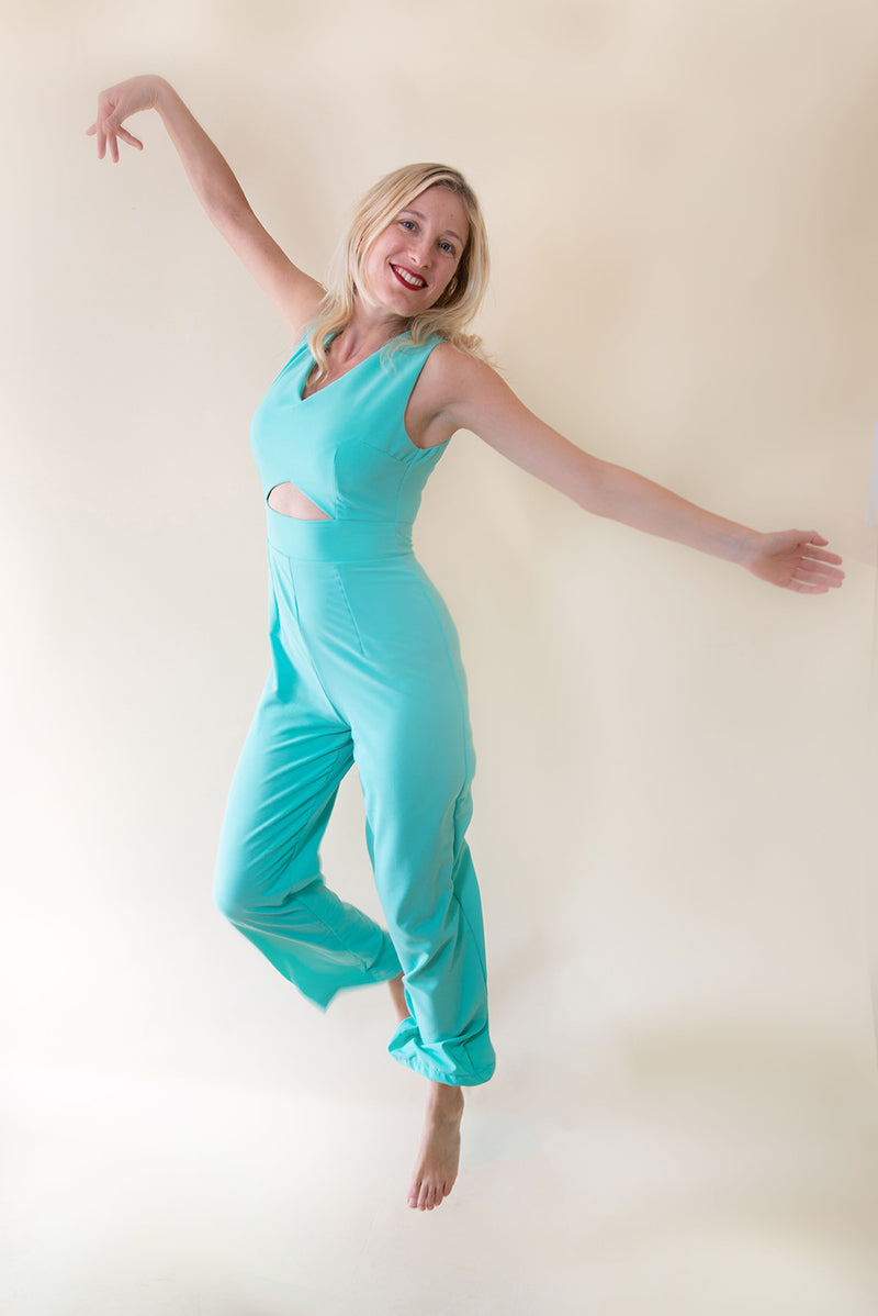 The Jumpsuit with Front Cut-Outs - Turquoise