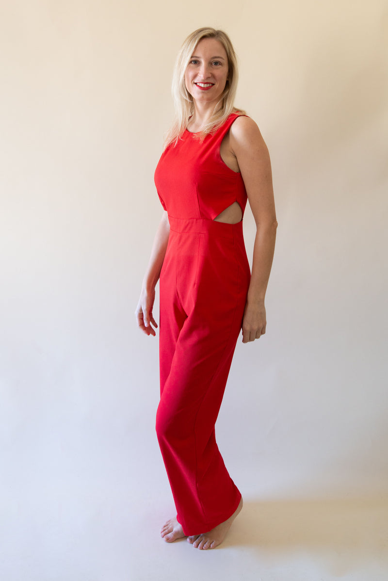 The Jumpsuit with Side Cut Outs - Red