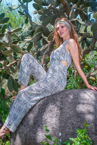 The Jumpsuit with Side Cut Outs - White Tiger