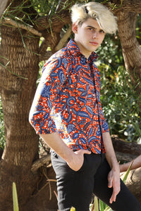 The Kampala Shirt - African shirt in Orange Patterns