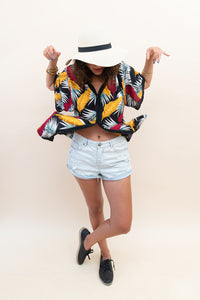 The Kimono Blouse - Black, Red, White & Yellow Florals