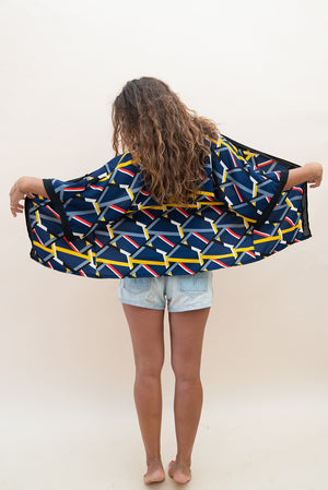 The Kimono Blouse - Blue, Yellow, White & Red Stripes