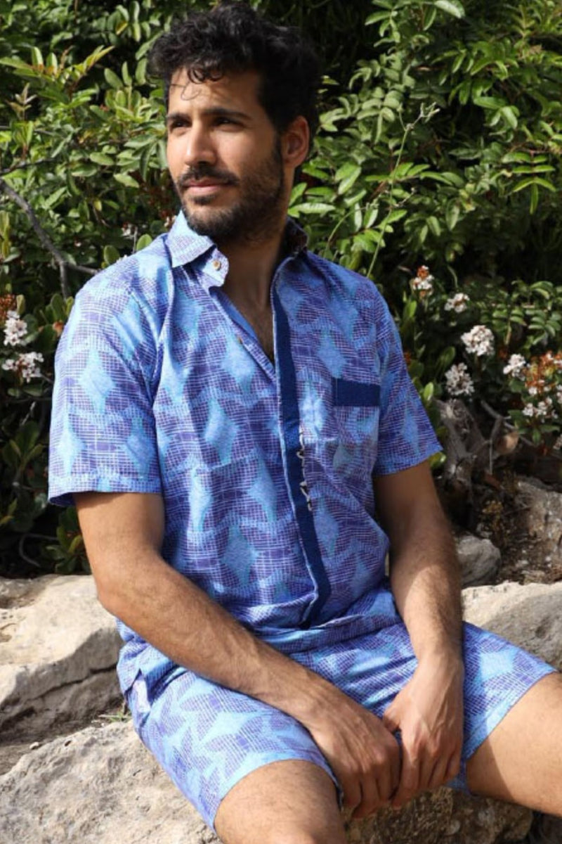The Mombasa Shirt- African Shirt in Blue Patterns