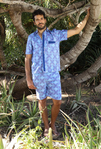 The Nelson Suit - African Shirt & Short in Blue Patterns