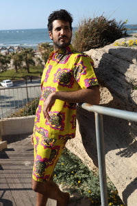 The Nelson Suit - African Shirt and Short in Bright Yellow Patterns