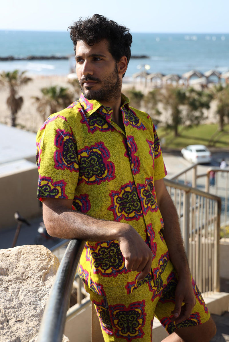 The Nelson Suit - African Shirt & Short in Bright Yellow Patterns