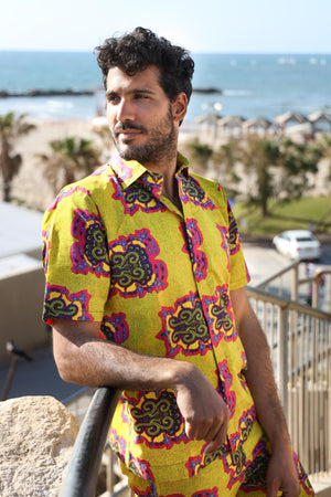 The Mombasa Shirt- African Shirt in Yellow Patterns