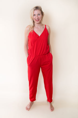 The Sporty Chic Jumpsuit - In Red