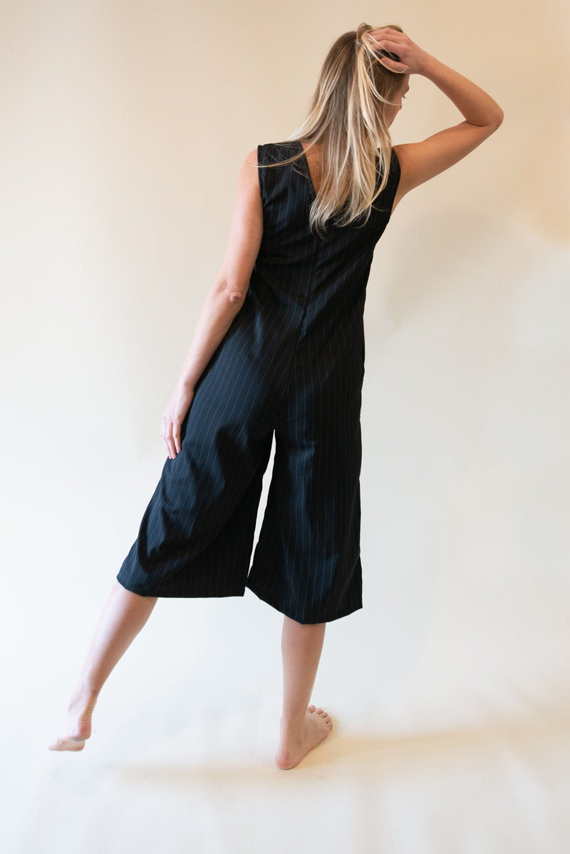 The Straightcut Jumpsuit - Black with White Stripes
