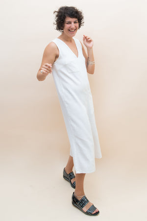 The Straightcut Jumpsuit - White Linen
